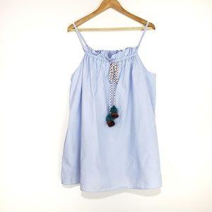 Zara TFR Collection Blue Knit Tank Top Tassel Tie